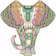 Mandala Elephant Psicodelic Poster