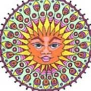 Peacock Sunburst Poster