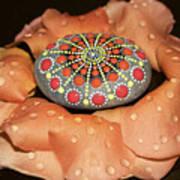 Mandala Stone In Rose Petals Poster