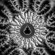 Mandelbrot Fractal Black And White Poster