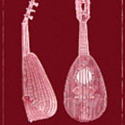 Mandolin Red Musical Instrument Poster