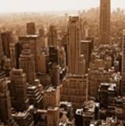 Manhattan Aerial Sepia Poster