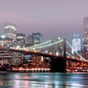 Manhattan And Brooklyn Bridge Under Fog. Poster by Shobeir Ansari