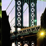 Manhattan Bridge And Empire State Building Poster