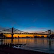 Manhattan Bridge At Dawn Poster