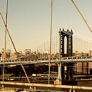 Manhattan Bridge From The Brooklyn Bridge  Poster