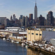 Manhattan From Greenpoint In Winter Poster