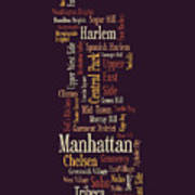 Manhattan New York Typographic Map Poster by Michael Tompsett