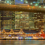 Manhattan Night Skyline I Poster