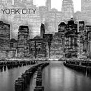 Manhattan Skyline - Graphic Art - White Poster
