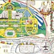 Map British Empire Exhibition Wembley Park London 1924 Poster