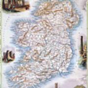 Map: Ireland, 1851 Poster