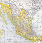 Map: Mexico Poster