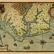 Map Of America 1590 Poster