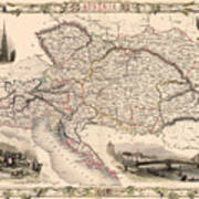 Map Of Austria 1850 Poster