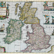 Map Of Britain Poster by English school