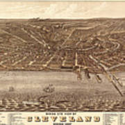 Map Of Cleveland 1877b Poster