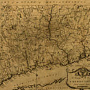 Map Of Connecticut 1797 Poster