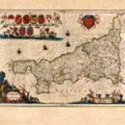 Map Of Cornwall 1646 Poster