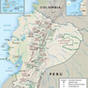Map Of Ecuador 2 Poster