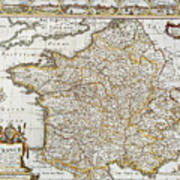 Map Of France, 1627 Poster
