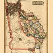Map Of Georgia 1817 Poster