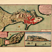 Map Of Gibraltar 1706 Poster