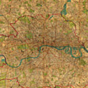Map Of London England United Kingdom Vintage Street Map Schematic Circa 1899 On Old Worn Parchment  Poster