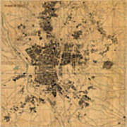 Map Of Madrid Spain Vintage Street Map Schematic Circa 1943 On Old Worn Parchment  Poster