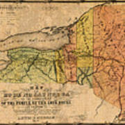 Map Of New York State Showing Original Indian Tribe Iroquois Landmarks And Territories Circa 1720 Poster