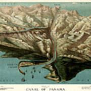 Map Of Panama Canal 1881 Poster