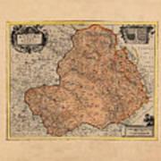 Map Of Rheims 1636 Poster