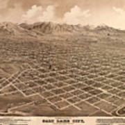 Map Of Salt Lake City 1875 Poster