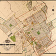 Map Of San Jose 1886 Poster
