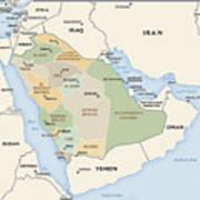 Map Of Saudi Arabia Poster