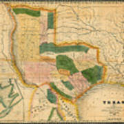 Map Of Texas 1834 Poster