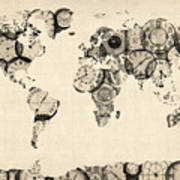 Map Of The World Map From Old Clocks Poster by Michael Tompsett