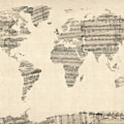 Map Of The World Map From Old Sheet Music Poster by Michael Tompsett
