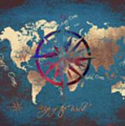 Map Of The World Wind Rose 4 Poster