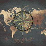 Map Of The World Wind Rose 5 Poster