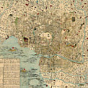 Map Of Tokyo 1854 Poster