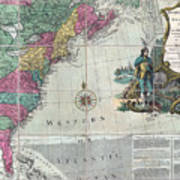 Map Showing The 13 British Colonies Poster