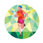 Marathon Runner Running Circle Low Polygon Poster