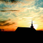March Church Sunset  Poster