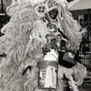 Mardi Gras Indian In Pirates Alley In Black And White Poster