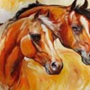 Mare And Stallion  By M Baldwin Sold Poster by Marcia Baldwin
