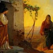Maria Sister Of Lazarus Meets Jesus Who Is Going To Their House Poster