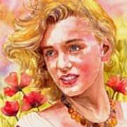 Marilyn Monroe With Poppies Poster