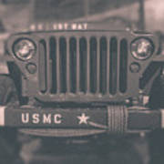 Marine Corps Jeep In Black And White Poster