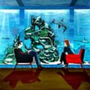 Marinelife Observing Couple Sitting In Chairs Poster